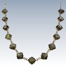 VINTAGE  Smoky Quartz Necklace with Rose Colored Metal