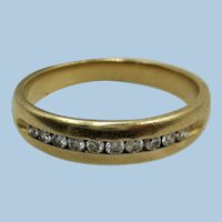 VINTAGE  14K Yellow Gold Unisex Wedding Band with 10 Diamonds  Size 10