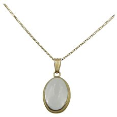 VINTAGE 10k Yellow Gold Light Moon Stone Necklace