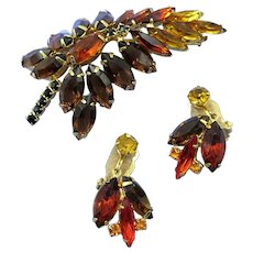 VINTAGE Juliana Gold and Brown with Black Accents Brooch Delizza & Elster  Co
