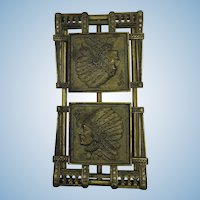 VINTAGE Brass Plated Book Holder  Indian Head