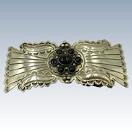 VINTAGE  German-Silver Lady's Belt Buckle with Onyx Sets