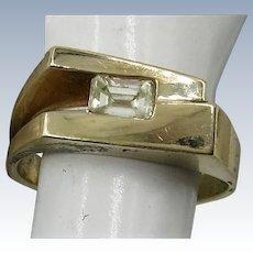 VINTAGE Yellow Gold 17k with Emerald Cut Diamond