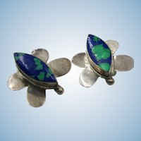 VINTAGE Mexican Silver Butterfly Clip Earrings with Azurmalachite Sets