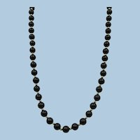 VINTAGE Endless String of Black Onyx and Gold-filled Bead Necklace 28 Inches