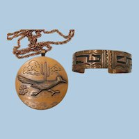 VINTAGE Copper Bracelet and Necklace Road Runner