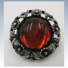 VINTAGE 1 1/4 Inch Brooch with Flowers and 1 Inch Amber