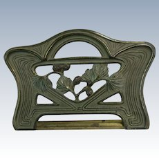 VINTAGE Brass Plated Book Holder in the Manner of Art Nouveau Pine Cones and leaves