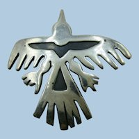 VINTAGE Native American 950 Silver Overlay Bird Brooch