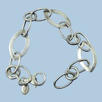 VINTAGE Sterling Open Large Link  7 Inch Bracelet