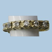 VINTAGE 14k Yellow Gold Band with 6 Full-cut Diamonds  Size 8