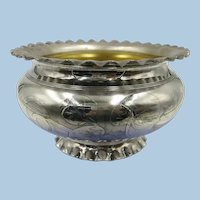 VINTAGE Victorian Small Fluted Footed Silver Bowl  Silver Overlay