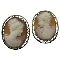 VINTAGE Shell Hand-carved Cameo Earrings  Vermeil