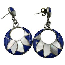 VINTAGE Pierced Earrings Lapis and Mother of Pearl.