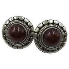 VINTAGE Sterling Carnelian Round Earrings