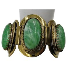 VINTAGE 50'S Large Green Marbled Set Bracelet