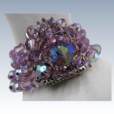 VINTAGE Aurora Borealis Pinkish Rhinestone 4 Strand Bracelet