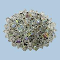 VINTAGE 60's  Oval Crystal Brooch  Winter
