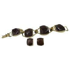VINTAGE Chunky 4 Links Bracelet with Earrings