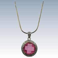 VINTAGE Vermeil Chain and Pendant Simulated Ruby