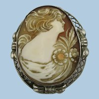 VINTAGE Sterling Tinted Shell Cameo  Lovely