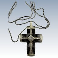 VINTAGE Cast Sterling Cross  Set with Diamonds and some Gold Filled   Large