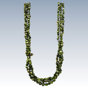 VINTAGE  Dyed Mother of Pearl Three Strand 28 Inch Green Necklace