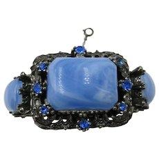 VINTAGE Older Clamper Bracelet Bright Blue Large Rhinestones