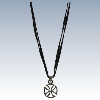 VINTAGE Sterling Maltese Cross on Leather Strips