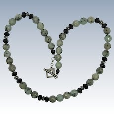 VINTAGE  Moss Agate faceted beads with Black Glass and Silver Bead Necklace