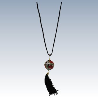 VINTAGE Silk Cord with a Cloisonne and Cinnabar Ball Necklace
