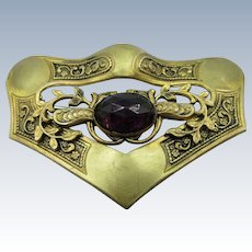 VINTAGE Victorian Brass Gilt Brooch with Faceted Amethyst Jewel