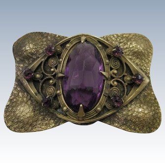 VINTAGE  Victorian Large Faceted Purple Jewel Brooch