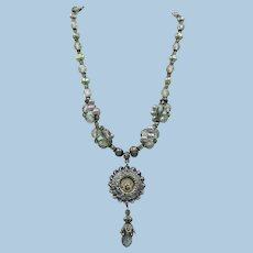 VINTAGE Beaded Necklace with Faceted beads and Freshwater Pearls with lovely Pendant