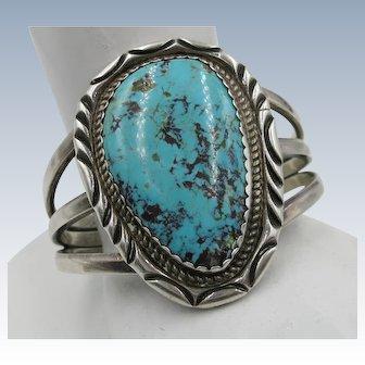 VINTAGE 70'S Huge Turquoise Sterling Bracelet  Weighs 71.25g