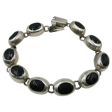VINTAGE Mexican Made Onyx Extra Large Bracelet 8 Inches