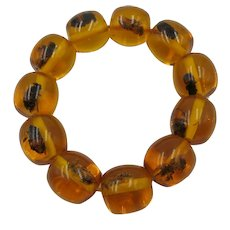 VINTAGE Spectacular  Amber Elastic Bracelet Fun Fun Fun