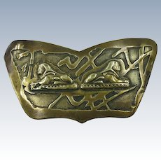 VINTAGE 40'S Brass Sphinx and Egyptian Revival  Brooch