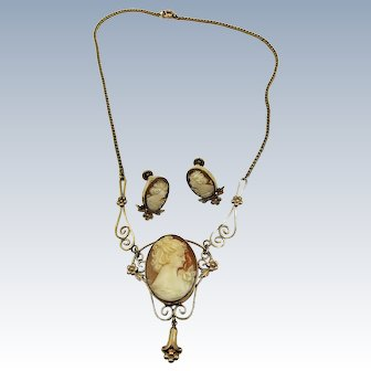 VINTAGE Gold Filled Cameo Necklace and Screw Earrings