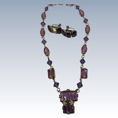 VINTAGE Czechoslovakian Purple Glass Necklace Beautiful