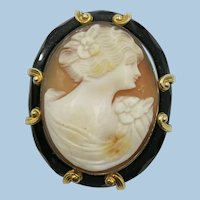 VINTAGE Italian Hand-carved Shell Cameo with Black Glass Edging