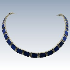 VINTAGE 960 Silver Beautifully made Mexican Silver and Lapis Necklace