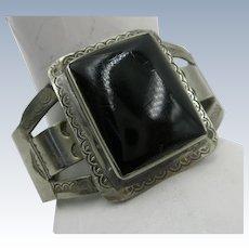 VINTAGE German Silver Bracelet with Onyx