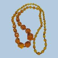 VINTAGE Czechoslovakian Knotted Square Glass Necklace  Long