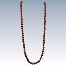 VINTAGE Gem Stone Carnelian 26 Inch 7mm Necklace  Classic