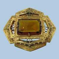 VICTORIAN Amber Colored Lovely Brooch Classic