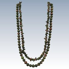 VINTAGE Jasper Gem Stone Two Strand Necklace 22 inch and 20