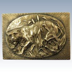 VINTAGE  Old Brass Brooch Lion in the Brush  Classic