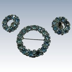 VINTAGE Weiss  Sea Blue Brooch and Clip Earrings