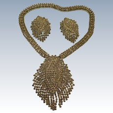 VINTAGE A Wedding Set from India  80's Rhinestone Necklace and Earrings